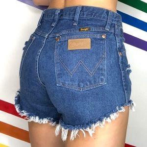 Wrangler distressed cutoff denim shorts